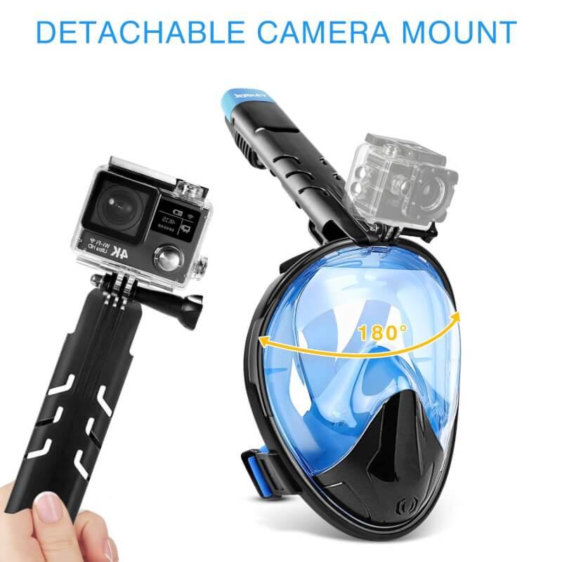 Die Schnorchelmaske mit Kamera-Halterung